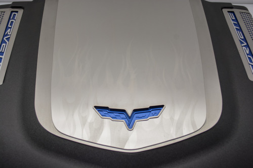 2009-2013 Corvette ZR1 Flame Etched Engine Shroud Cover 2Pc