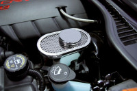 2009-2013 C6+Z06+GS Corvette - Master Cylinder Cover Perforated w/ Chrome Cap Cover