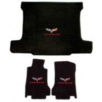 Corvette Floor & Cargo Mat Set, Coupe, With Dual Logos, Lloyd, 2005-2007Early C6