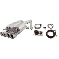 C6 Corvette Exhaust System, With Quad Round Tips & Control Kit, Fusion, B&B, 2005-2008