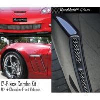 Corvette C6 Grand Sport Custom RaceMesh® 12-Piece Grille Combo Kit With Upgraded 4-Chamber Lower Valance, 2010-2013