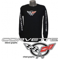 Corvette C5 Long Sleeved T-Shirt w/Script on Sleeves,Black