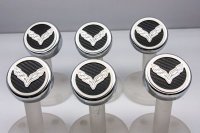 14-15 Corvette Z06/C7/Z51 Fluid Cap Cover 6Pc Set with C7 Flag color carbon