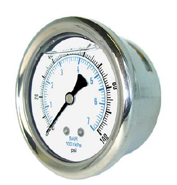 Liquid Filled Back Mount Gauges-2.5""