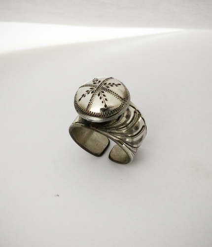 Sterling Silver Adjustable Spur Button Ring