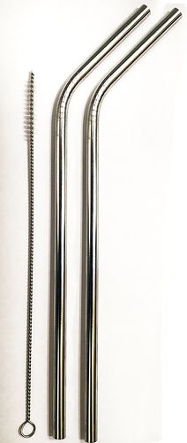 2 Stainless Steel Straws and 1 Cleaner