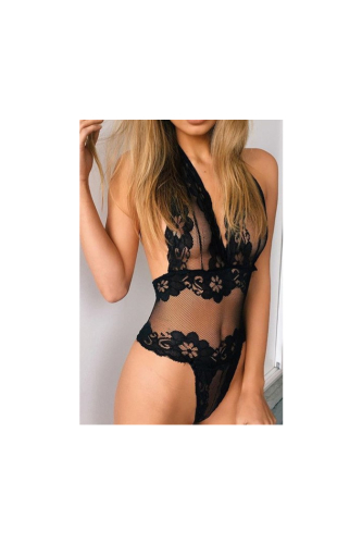 Full Plunging Neckline Mesh See Through Sexy Bodysuit Teddy-Sku-013270
