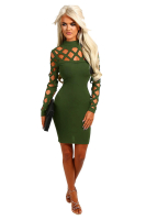 Women's Long Sleeves Hollow Fashion Sexy Dress