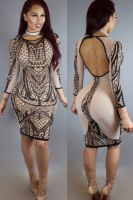 Digital Printing Beige Bodycon Mesh Dress