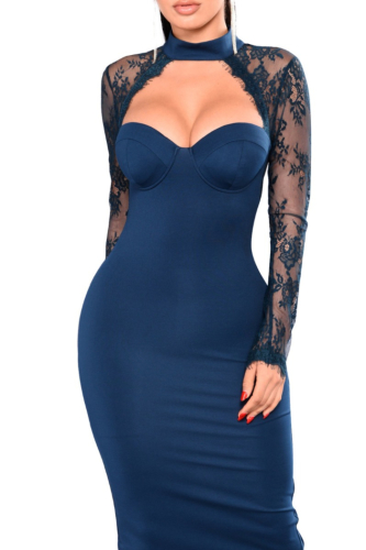 Best Selling Add New Color: Lace See Through Sexy elegant Mini Dress-S-029544A/C,Blue