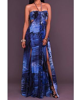Dark Blue Sheer Chiffon Maxi Dress-S-Sku-029778,Dark Blue