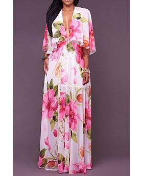 Chiffon Cheer Deep V Maxi Summer Dress-S-029845,Print