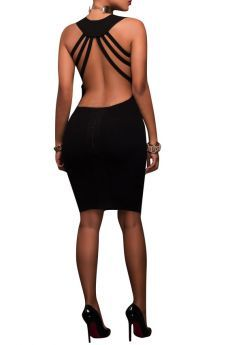 Solid Backless Sexy Midi Elegant Summer Dress-S-Sku-029851/u,Black