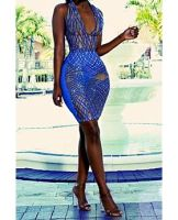 Blue Paillette Stitched Deep V Dress