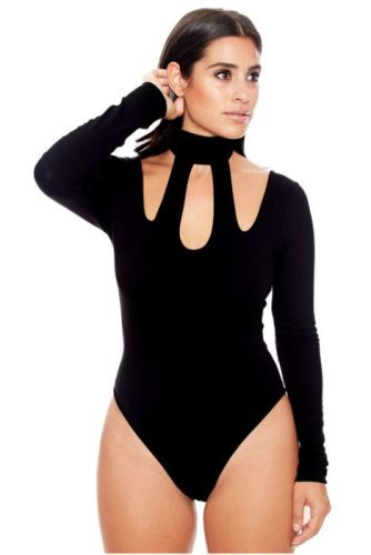 Women's Solid Long-Sleeves Bodysuit-XL-Sku-030281/cv,Black
