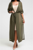 Anne Recommend: Best Selling Add New Colors Mesh Sheer High Quality Maxi Coat-031075/Black-M,Green