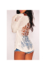 Winter New Hollow White Long-Sleeves Sweater-L-Sku-030829UL,White