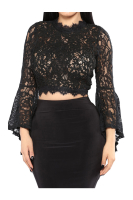 Anne recommend: Black Lace Bell Sleeves See Through Little Shirt