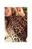 Full Leopard High Collar Zipper High Legs Sexy Bodysuit -M-Sku-031180