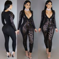 Black Deep V Necked Long Sleeves Sequin See Through Sexy Jumpsuit