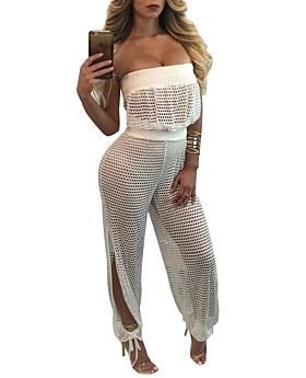 White Mesh Strapless See Through Jumpsuit-M-SKU-040810,White