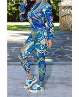 Autumn New Blue Digital Printing Long-Sleeves Two-Piece Set
