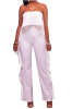 Strapless Solid Color Flounced Jumpsuit-L-Sku-041123/ul,White