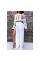Full Frilled Trim Lace Mesh Top&High Slit Wide Legs Pants Two-Piece Jumpsuit