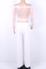 Full Frilled Trim Lace Mesh Top&High Slit Wide Legs Pants Two-Piece Jumpsuit-M-Sku-041177/bc,White