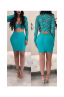 Autumn New Lace See Through Top&Skirt Set Plus Size
