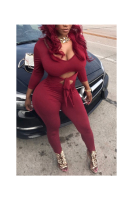 Solid Color Strappy Hoolow Waist Sexy Jumpsuit
