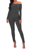Gray One-Shoulder Long-Sleeves Belted Jumpsuit-XL-Sku-041391/ba,Black