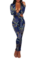 Plus Size Printed Belted Deep V Sexy Jumpsuit