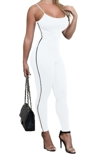 Anne recommend: Sling Sexy Tight High Quality Comfortable Jumpsuit-XL-Sku-041454/f,White