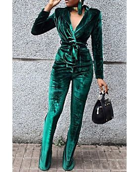 Green Velvet Belted Two-Piece Jumpsuit-Sku-041514-S,Green