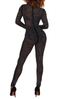 Anne recommend: See Through Rhinestone Sexy Zipper Back Jumpsuit