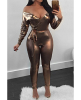 Gold Off Shoulder PU Leather Belted Sexy Tight Jumpsuit-S-Sku-041614/vw,Gold