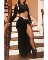 Black Velvet Beaded Slit Two-Pieces Set