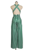 Anne Recommend:Stripe High Quality Backless Wide Leg Starppy Jumpsuit-Sku-041638/Green-L