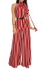Anne Recommend:Stripe High Quality Backless Wide Leg Starppy Jumpsuit-Sku-041638-M,Red