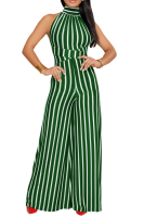 Anne Recommend:Stripe High Quality Backless Wide Leg Starppy Jumpsuit