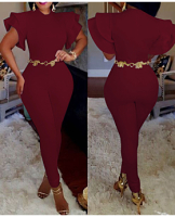 Solid Color Flounced Sleeves Zipper Back Jumpsuit