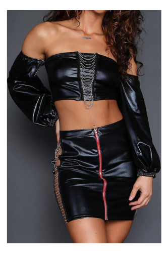 Black PU Chains Zipper Front Sexy Outfit-S-Sku-041664/Vb,Black