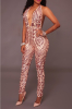 Full Best Selling Add New Color Sequined See Through Deep V Backless Jumpsuit-XL-Beige