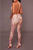 Best Selling Add New Color Sequined See Through Deep V Backless Jumpsuit-Sku-041672b-S,Pink