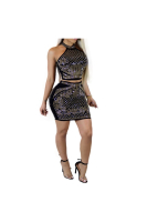 Full Rhinestone Halter Black Sexy Two-Piece Jumpsuit