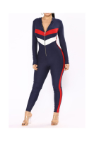 Full Hoodie Contrast Color Zipper Skinny Sexy Jumpsuit