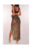 High Quality See Through Grid Skirt Set-M-Sku-052990/Gold/Silver