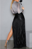 Sparkling High Neck Long-Sleeves Maxi Skirt Set-L-Sku-041713/Black