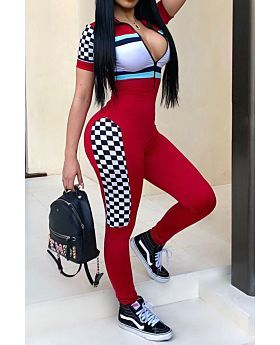 Summer New Racing Girl Jumpsuit-L-Sku-041740,Red